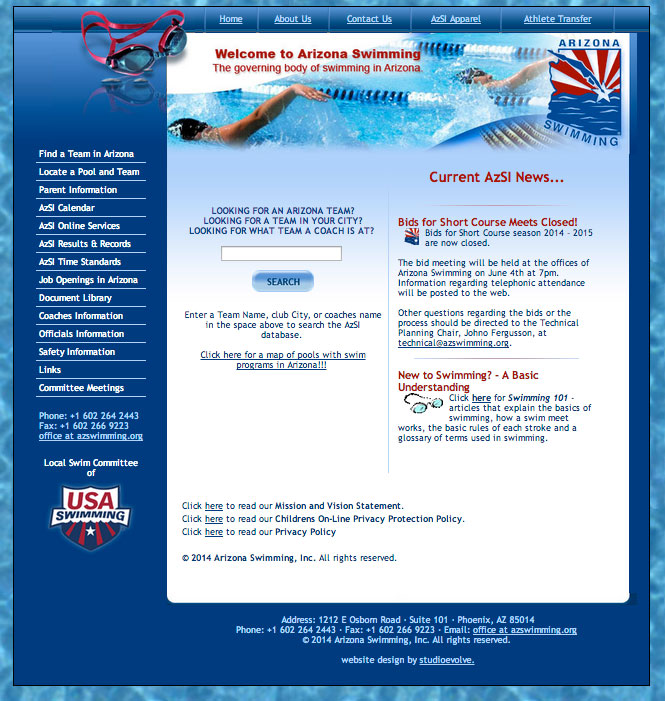 AZ Swimming Website