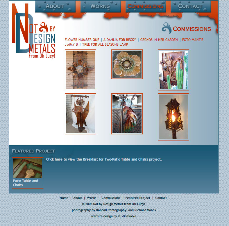 Not by Design Metals Website